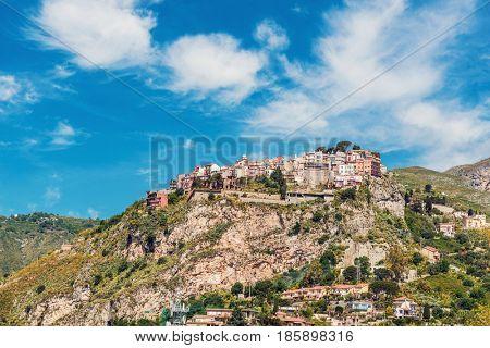 Picturesque Castelmola village as seen from Taormina, Sicily, Italy