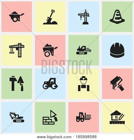 Set Of 16 Editable Building Icons. Includes Symbols Such As Construction Tools, Hardhat, Truck And More. Can Be Used For Web, Mobile, UI And Infographic Design.