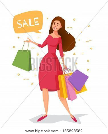 Woman cartoon in a red dress with packages goes shopping. Vector character cheerful girl with shopping. There is a bubble for the text of the sale.