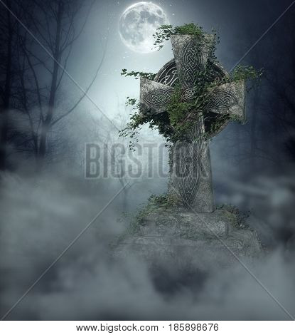 3D illustration of a gothic gravestone covered with ivy in a spooky graveyard at full moon.