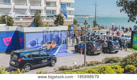 Sables d Olonne France - May 07 2017 : Dacia Tour 2017 is a commercial operation organized by the car builder in order to present its cars throughout France - General plan of the event