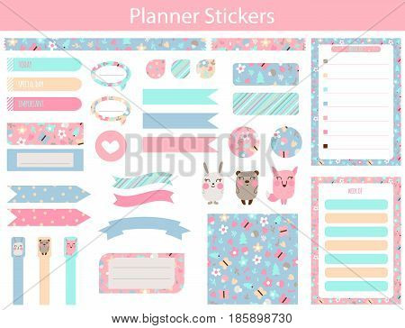 Stickers for organized your organizer with cute bear hare fox and flowers In simple kids cartoon style. Weekly Planner pages.