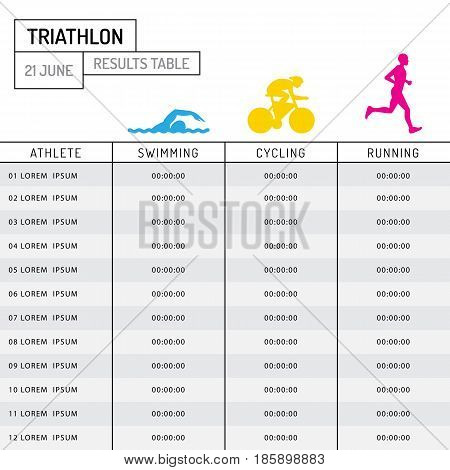 Vector table with the results of the participants of the triathlon, mark finishing time athletes.