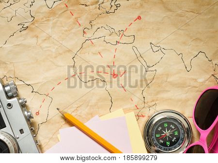 Journey travel plan concept on map abstract background