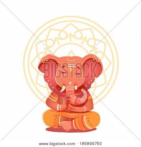 Ganesha Illustration in the lotus position. Mythological deities of India. Vector illustration of a deity with elephant head character on the background of the mandala.