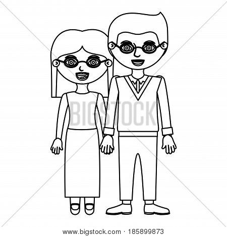 sketch silhouette couple woman with skirt and straight hair and man in formal suit with taken hands vector illustration