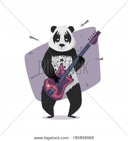 Rocker panda playing the guitar. Vector illustration for print on a T-shirt, cover, poster. Hipster panda.
