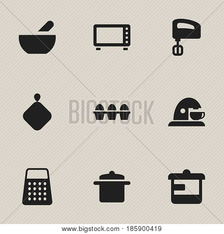 Set Of 9 Editable Cooking Icons. Includes Symbols Such As Pot-Holder, Egg Carton, Agitator And More. Can Be Used For Web, Mobile, UI And Infographic Design.