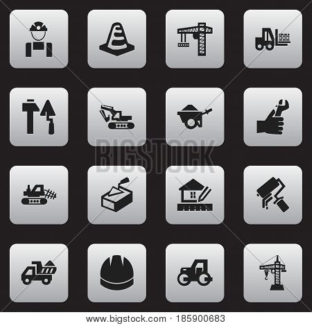 Set Of 16 Editable Building Icons. Includes Symbols Such As Spatula ,  Lifting Equipment, Hands. Can Be Used For Web, Mobile, UI And Infographic Design.
