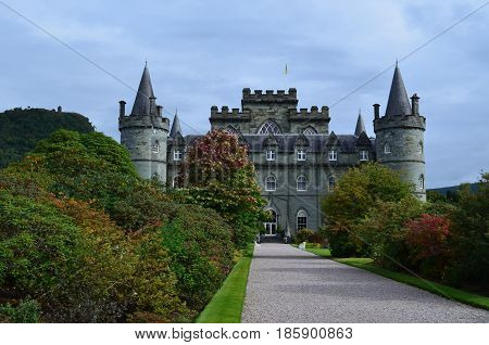 Inveraray Castle home of the Duke of Argyll in Scotland.