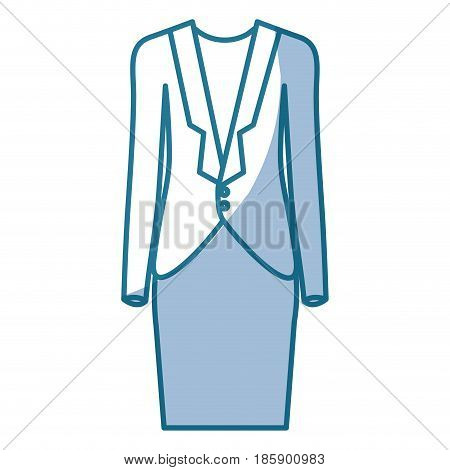blue silhouette shading of female formal suit clothing vector illustration