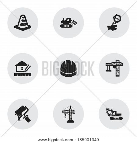 Set Of 9 Editable Building Icons. Includes Symbols Such As Mule, Scrub, Endurance And More. Can Be Used For Web, Mobile, UI And Infographic Design.