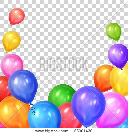Border of realistic colorful helium balloons isolated on transparent background. Party decoration frame for birthday anniversary celebration. Vector illustration