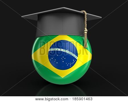 3D Illustration. Graduation cap and Brazilian flag. Image with clipping path