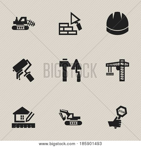 Set Of 9 Editable Construction Icons. Includes Symbols Such As Lifting Equipment, Construction Tools, Endurance And More. Can Be Used For Web, Mobile, UI And Infographic Design.