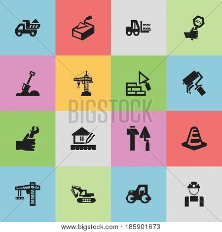 Set Of 16 Editable Structure Icons. Includes Symbols Such As Lifting Equipment, Endurance, Caterpillar And More. Can Be Used For Web, Mobile, UI And Infographic Design.