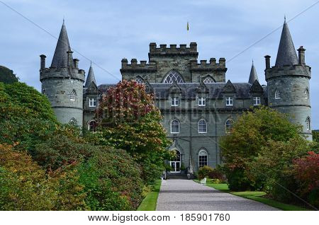 Towering Inveraray Castle found in Argyll Scotland.