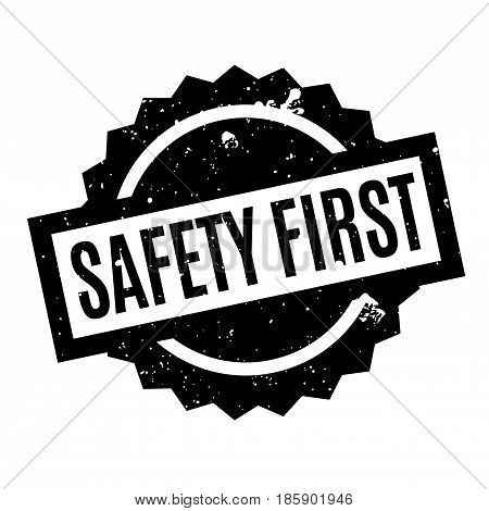 Safety First rubber stamp. Grunge design with dust scratches. Effects can be easily removed for a clean, crisp look. Color is easily changed.