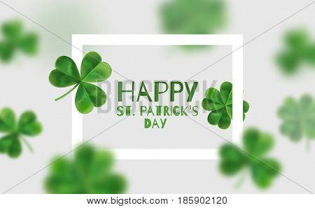 Background with clovers 3d effect. Poster with place for text. Happy St. Patrick's for.