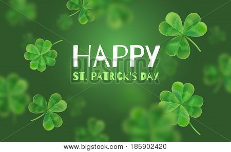 Template Design banner on St. Patrick's Day. 3d effect clover. Simple banner for the site, shop, magazine promotions. Banner with place for text.