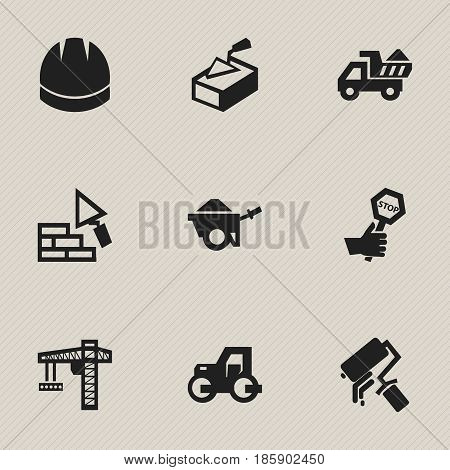Set Of 9 Editable Building Icons. Includes Symbols Such As Lifting Equipment, Camion, Hardhat And More. Can Be Used For Web, Mobile, UI And Infographic Design.