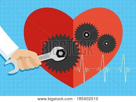 The hand of a doctor with a wrench repairs the heart.