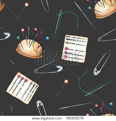 Seamless pattern with watercolor safety pins and needles, hand drawn isolated on a dark background