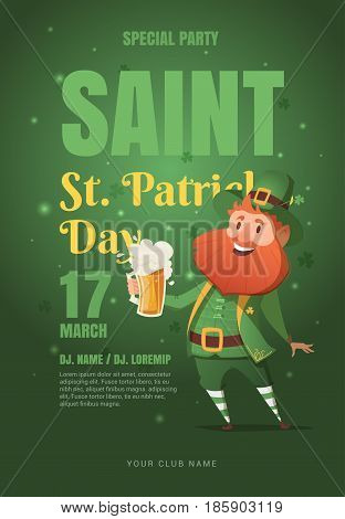 Template design poster vector for St. Patrick's party. Leprechaun with beer. The elements layered separately in vector file. Poster to the pub for a holiday.