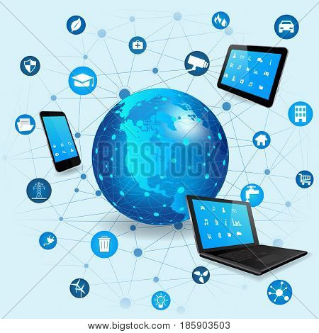 Internet of Things concept with different icon and elements. Digital Network Connection Modern communication technology. Laptop Tablet Pc and Smart Phone with apps. Wireless communication network
