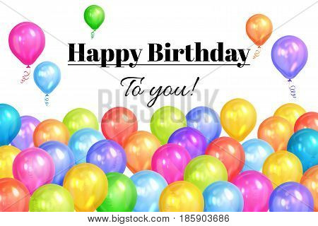 Border of realistic colorful helium balloons isolated on white background. Party decoration frame for birthday anniversary celebration. Vector illustration