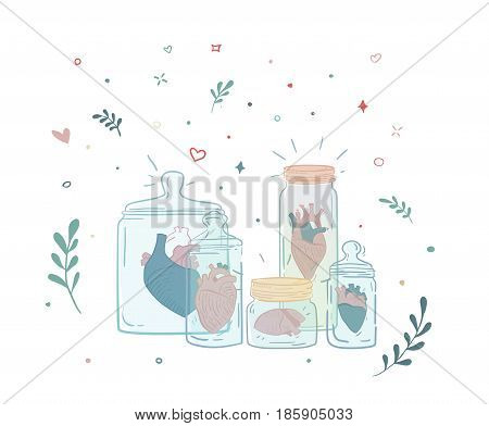 A set of jars with a human heart. Collection relations. Illustration for the magazine. It can be used as a print on a T-shirt. Tender color illustration with flowers.