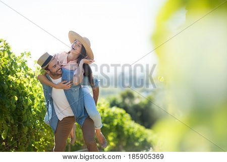 Happy couple piggybacking at vineyard during sunny day