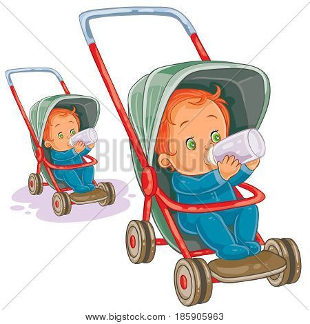 Vector illustration of a baby sitting in a baby stroller and drinking milk from a baby bottle. Print, template, design element
