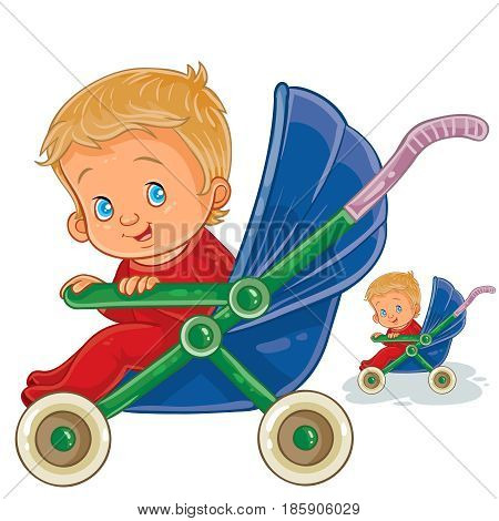 Vector illustration of a baby sitting in a baby stroller and smiles, side view. Print, template, design element