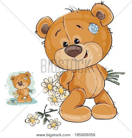 Vector illustration of a teddy bear hides behind back a bouquet of flowers. Template for greeting card with Valentines day, Womens day and birthday