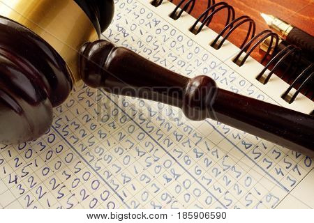 Anti money laundering (AML).  Gavel and accounting book. White collar crime.