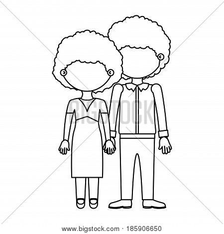 sketch silhouette faceless curly couple taken hands vector illustration