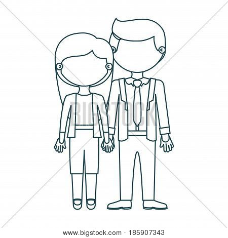 blue contour faceless couple woman with long hair with man in formal style and taken hands vector illustration