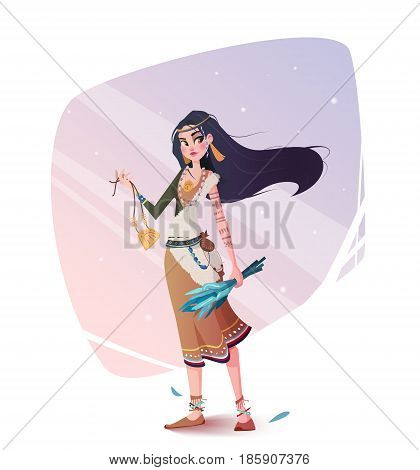 Illustration of a girl of the tribe. Children's book illustration for the magazine. Illustration of a girl shaman can be used for an prints T-shirts, bags, covers.