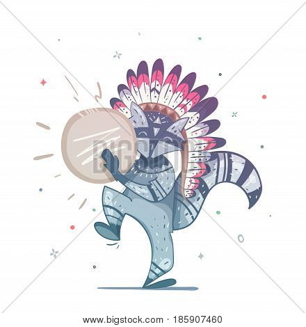 Raccoon tribal shaman with a tambourine dance. Children's illustration of a raccoon. Illustration can be used to print on a T-shirt on the cover of the book, an invitation to a holiday.