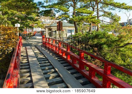 Japanese red bridge in Matsushima