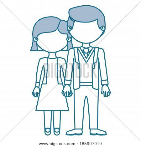 blue contour with color sections faceless couple woman with short hair in dress and man in formal suit with taken hands vector illustration