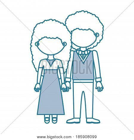 blue contour with color sections faceless curly couple woman with long hair in dress and man with bowtie and taken hands vector illustration