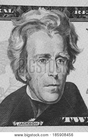 Closeup of Andrew Jackson on twenty dollar American banknote