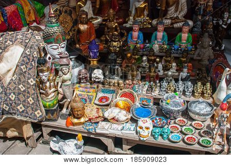 Balinese Market. Souvenirs And Figurines. Bali, Indonesia.