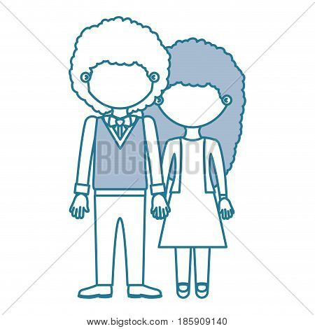blue contour with color sections faceless curly couple woman with dress and man with bowtie and taken hands vector illustration