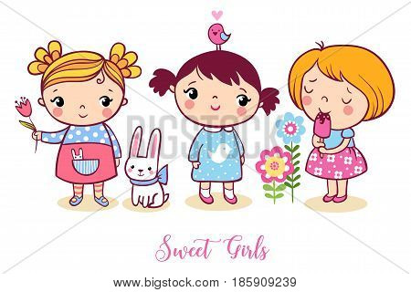 Cute Cartoon Girls Set. V