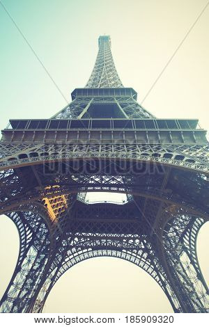 The Eiffel Tower in Paris, France. Retro style image