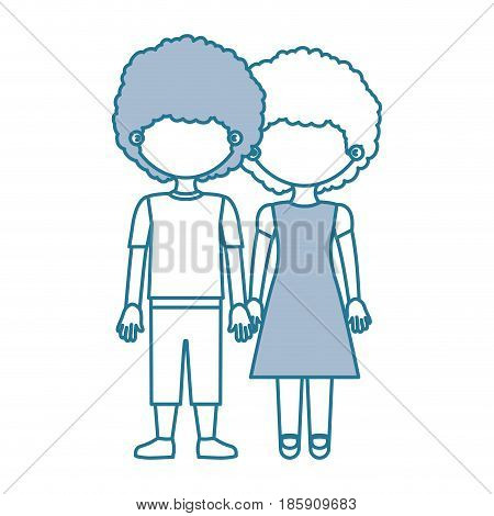 blue contour with color sections faceless curly couple girl with dress and boy in casual clothing and taken hands vector illustration