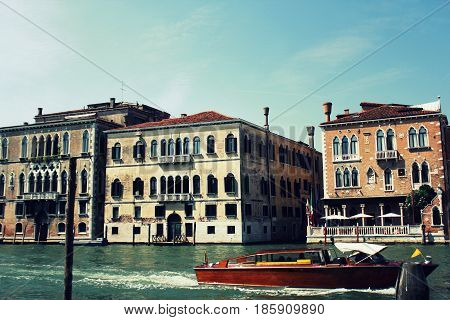 Grand Canal in Venice, Italy. Exquisite antique buildings along Canals.